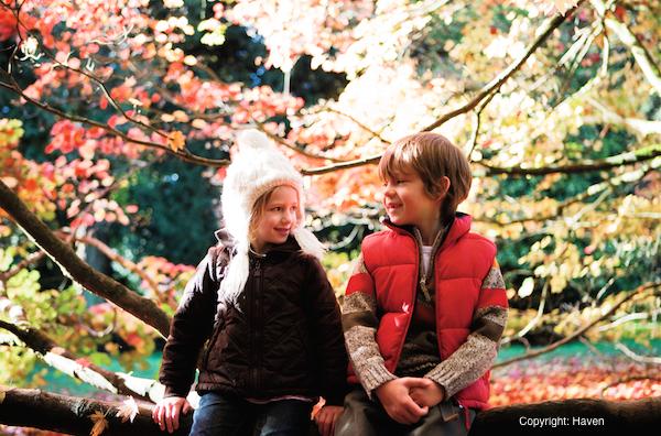 Children in autumnal setting