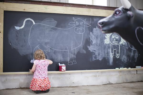Chalk drawing board at Tapnell Farm
