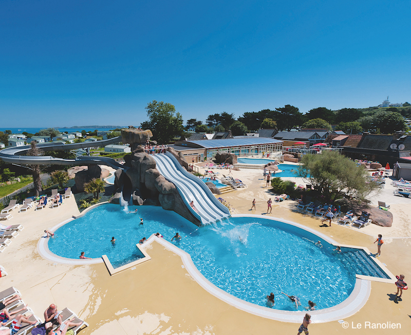 Waterslide and swimming pool