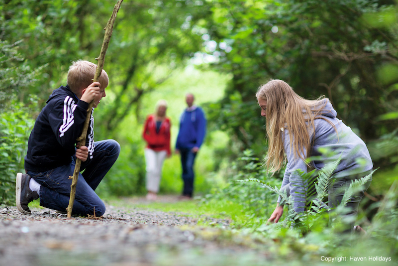 Two children investigating wildlife on holiday