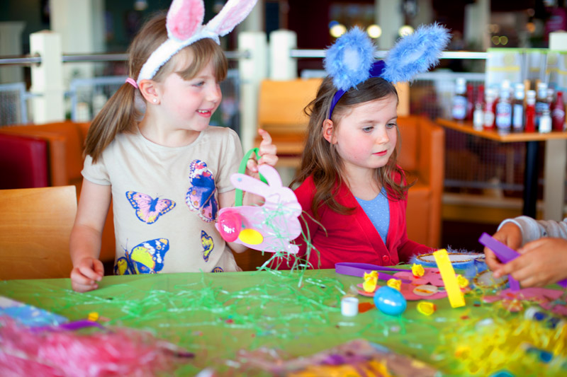 Girls wearing bunny ears at Haven kids club
