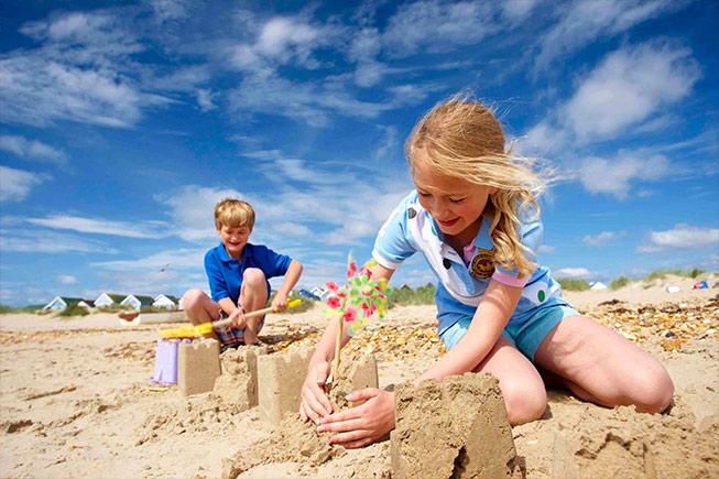 children on beach