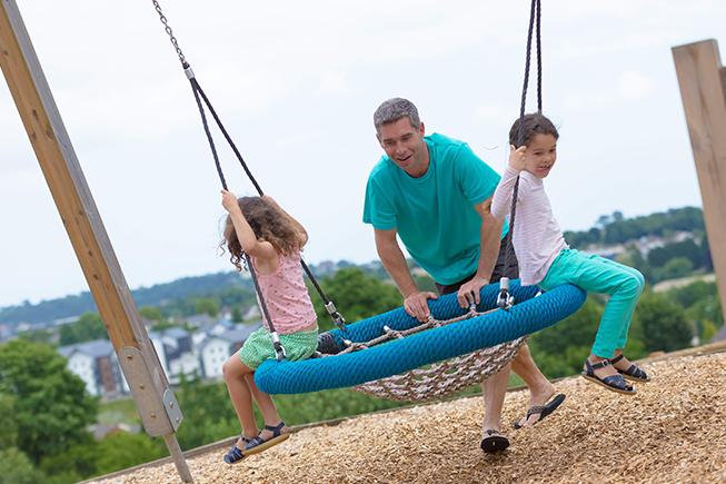 family on swing